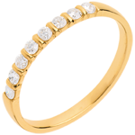 gift woman Half eternity ring yellow gold semi paved-bar prong setting - 0.25 carat - 8 diamonds
