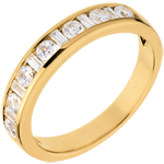 Half eternity ring yellow gold semi paved-channel setting - 0.65 carat - 8 diamonds