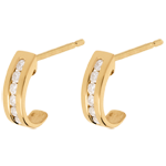 sell Half-moon earrings paved yellow gold - 0.22 carat - 12 diamonds