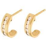 Half-moon earrings paved yellow gold - 0.31 carat - 12 diamonds