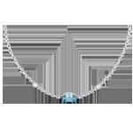 Goldschmuck Halskette Auge des Orients - Blauer Topas und Diamanten - 9 Karat Weißgold