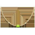 Goldschmuck Halskette Auge des Orients - Peridot und Diamanten - 9 Karat Gelbgold