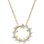 Geschenk Frauen Halskette Kranz Verzauberter Garten - Königliches Blattwerk - Gelbgold und Diamanten - 9 Karat