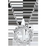 Geschenk Halskette Kranz Verzauberter Garten - Königliches Blattwerk - Weißgold und Diamanten - 18 Karat