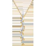 Online Verkauf Halskette Stab Verzauberter Garten - Königliches Blattwerk - Gelbgold und Diamanten - 9 Karat