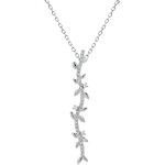 Goldschmuck Halskette Stab Verzauberter Garten - Königliches Blattwerk - Weißgold und Diamanten - 18 Karat