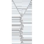 Geschenke Frauen Halskette Stab Verzauberter Garten - Königliches Blattwerk - Weißgold und Diamanten - 9 Karat