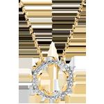 gouden juweel Halsketting Cirkel Magische Tuin - Gebladerde Royal - geel goud en diamanten - 9 karaat