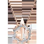 Halsketting Cirkel Magische Tuin - Gebladerde Royal - roze goud en diamanten - 9 karaat