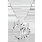 Halsketting Denkbeeldige Balade - Snake Liefde - wit goud en diamanten - 9 karaat