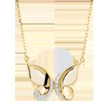 Halsketting Denkbeeldige Balade - Vlinder Cascade - geel goud