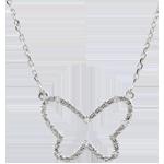 Halsketting Denkbeeldige Balade - Vlinder Wolk - wit goud