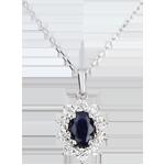 Halsketting Eeuwige Edelweiss - Marguerite Illusie - saffier en diamanten - wit goud 18 karaat