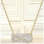 Halsketting Infinity - geel goud en diamanten - 9 karaat