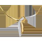 cadeau dames Halsketting Liane Geel Goud betegeld - 3 Diamanten