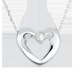 Halsketting Mooi Hart Wit Goud en Diamant - 45 cm