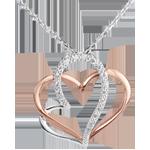 Halsketting My Love - wit goud. roze goud en diamant