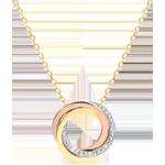 Halsketting Saturnus - 3 goudkleuren - diamanten - 18 quilates