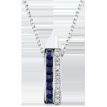 Halsketting Sterrenbeeld - Zodiac - blauwe saffieren en diamanten - witgoud 9 karaat
