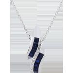 Halsketting Sterrenbeeld - Zodiac - Saffieren en Diamanten - 9 karaat witgoud