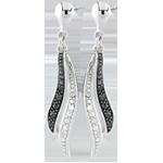Hangende oorbellen Obscuur Licht - wit goud en zwarte diamanten