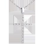 Hanger 18 karaat witgoud bezet kruis - 0.15 karaat