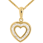 Hanger Hart in Abyme - 18 karaat geelgoud met pavézetting - 18 Diamanten 0.18 karaat
