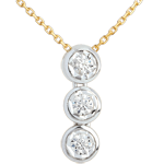 gifts women Hanging trilogy necklace yellow gold-white gold - 3 diamonds
