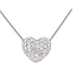 Heart necklace white gold - 0.85 carat - 50 diamonds