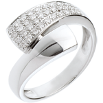 gift women Hemisphere ring white gold paved - 0.26 carat - 34diamonds