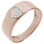 Herz-Ring Rotgold mit Diamanten