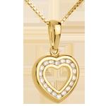 Geschenk Frauen Herzanhänger Spiegelbild in Gelbgold - 0.25 Karat - 18 Diamanten