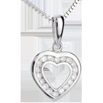 Geschenk Frau Herzanhänger Spiegelbild in Weissgold - 18 Diamanten