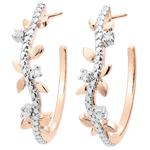 women Hoop Earrings Enchanted Garden - Foliage Royal - pink gold and diamonds - 9 carats