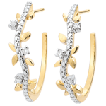 gifts women Hoop Earrings Enchanted Garden - Foliage Royal - yellow gold and diamonds - 9 carats