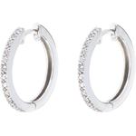 gold jewelry Hoops semi-paved white gold - 26 diamonds