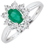 Illusionary Daisy Emerald Ring
