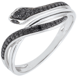 jewelry Imaginary Walk Ring - Bewitching Snake - White gold and diamonds - 9 carats