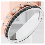 Inel Feerie - Coroană de Stele - mode mic - aur alb şi aur roz de 9K cu diamante negre