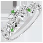 Inel Grădină Fermecată - Frunziş Regal - aur alb de 9K, diamante şi smaralde