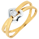 Inel Inimă Acrobată - aur alb şi aur galben de 9K