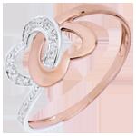 Inel Inimi Legate aur alb şi aur roz de 9K