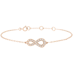 gift woman Infinity bracelet - rose gold and diamonds - 9 carats