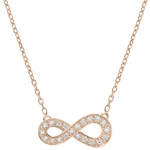 gold jewelry Infinity necklace - rose gold and diamonds - 9 carats