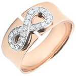 women Infinity Ring - rose gold and diamonds - 9 carats