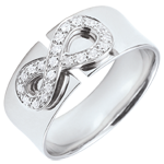 Infinity Ring - white gold and diamonds - 9 carats