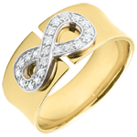 gold jewelry Infinity ring - Yellow gold and diamonds - 9 carats