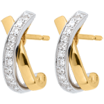 women Jewelled White and Yellow Gold Earrings - 22 Diamonds