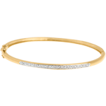 Jonc diorama barrette diamants - or jaune 18 carats - 11 diamants