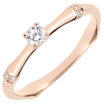 Jungle Sacrée engagement ring - 0.09 carat diamond - pink gold 9 carats